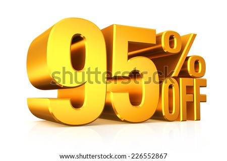 3D render gold text 95 percent off on white background with reflection.