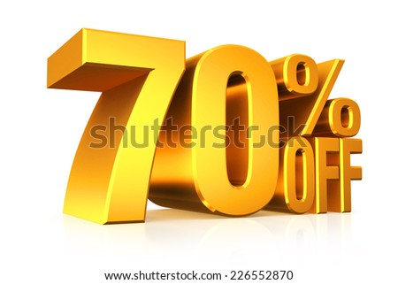 3D render gold text 70 percent off on white background with reflection. - stock photo