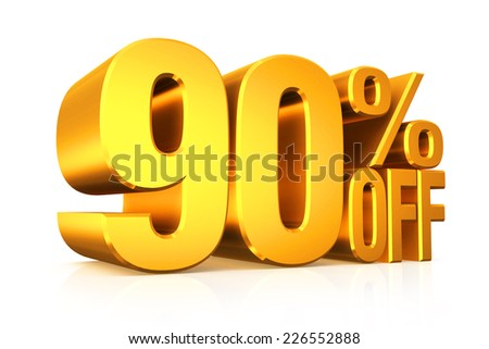 3D render gold text 90 percent off on white background with reflection.