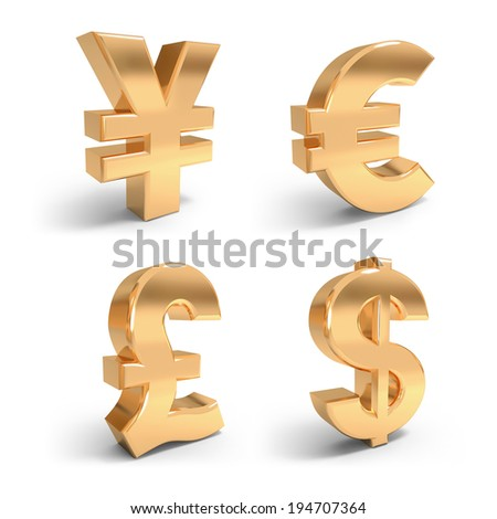 3d render golden currency symbols on the white background. - stock photo