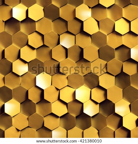 3d render, golden honeycomb wall texture, gold hexagon clusters digital illustration, abstract geometric background - stock photo