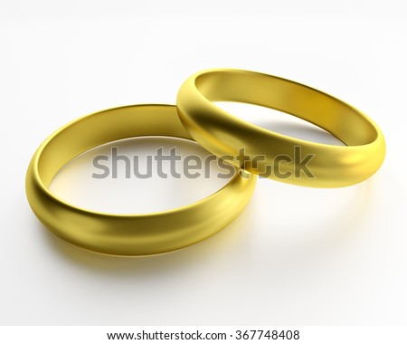 3d render golden rings symbol of love isolated on white background