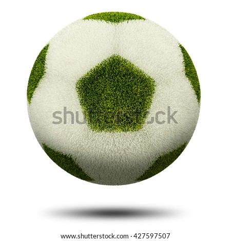 3d render, Green and white grass football. Isolated on white.