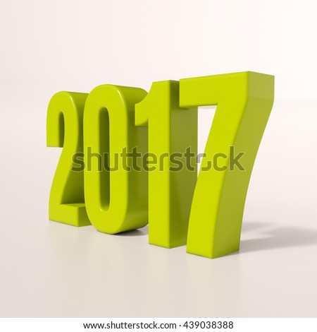 3d render: green 2017 design for your greetings card, flyers, invitation, posters, brochure, banners, calendar