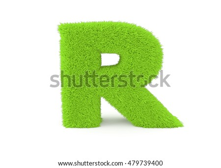3d render green furry letter R on a white background.