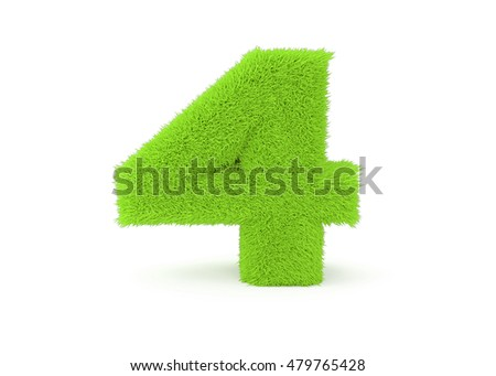 3d render green furry number 4 on a white background.