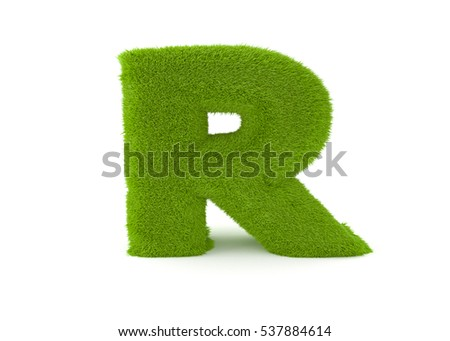 3d render green grass letter R on a white background.