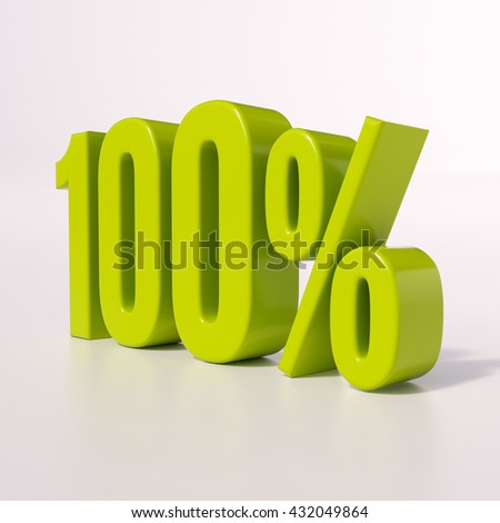 3d render: green 100 percent, percentage discount sign on white, 100% - stock photo