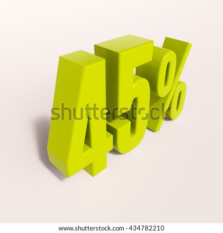 3d render: green 45 percent, percentage discount sign on white, 45% - stock photo