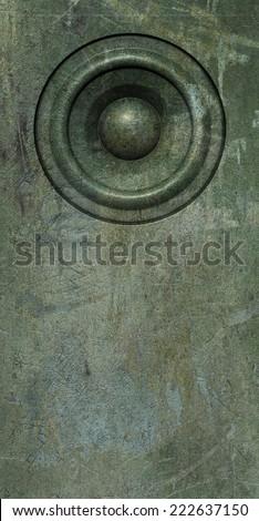 3d render grunge green old speaker sound system - stock photo