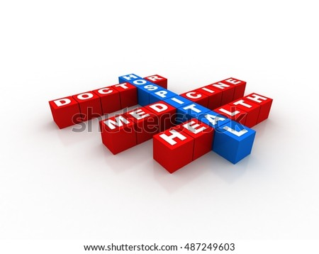 3d render health concept Health Care doctor medical hospital crossword cubes
