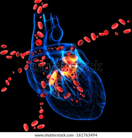 3d render Heart valve with blood cells - stock photo