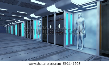 3d render. Human Clone Manufacturing and Futuristic Room