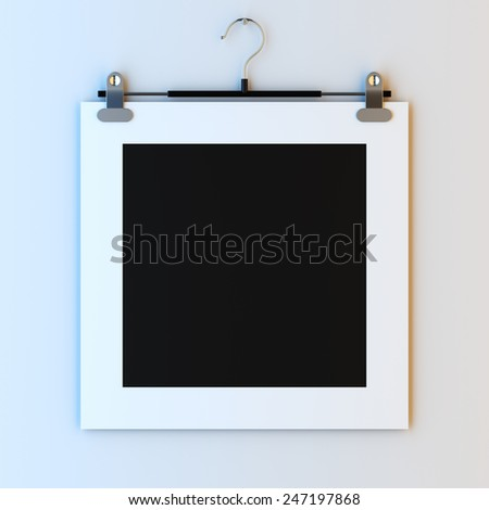 3d render illustration blank template layout of empty paper frame on hanger clips. Paint surface to place your photo, image, picture, text or logo. - stock photo