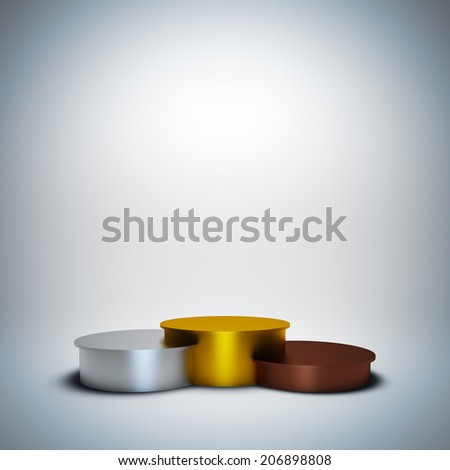 3d render illustration blank template layout of empty sport winner podium with gold, silver and bronze place. - stock photo