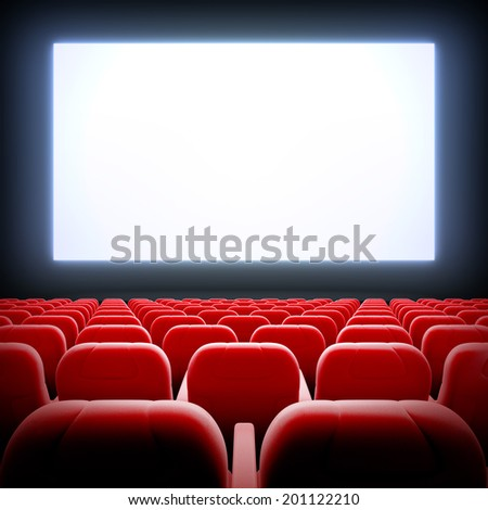 3d render illustration blank template of empty cinema hall with white wide display and red velvet chairs. - stock photo