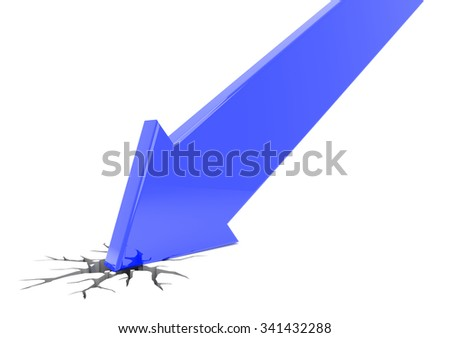 3D render illustration, blue arrow crashes through the ground - stock photo