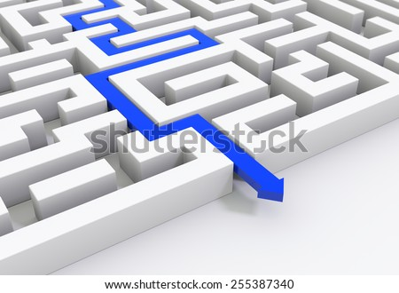 3D render illustration - Blue arrow leads through a maze - stock photo