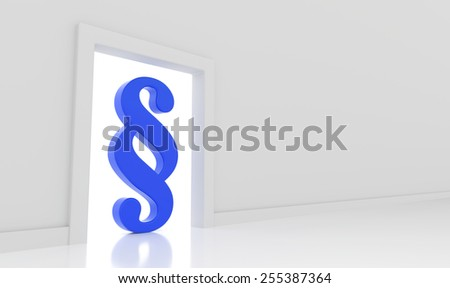 3D render illustration - Blue paragraph symbol stands in doorway - stock photo