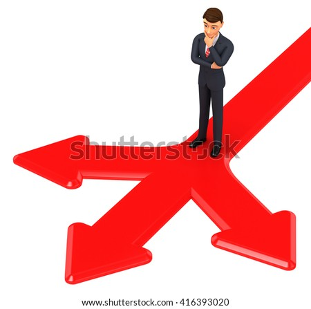 3d render illustration. Businessman standing on arrows that point at different directions.