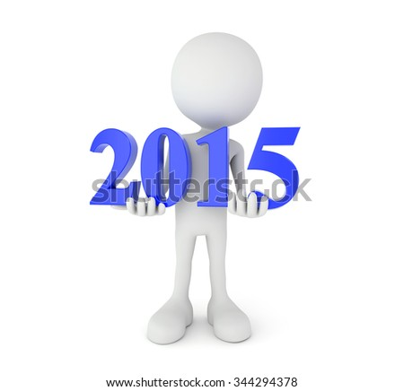 3d render illustration - cartoon person holds blue 2015 text