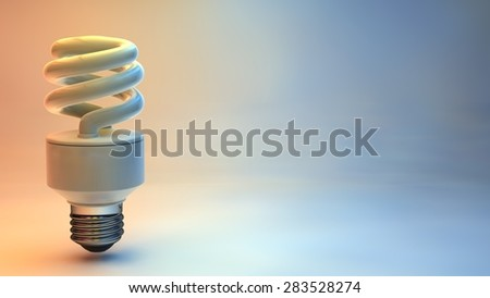 3d render illustration energy saving bulb colorfull background - stock photo