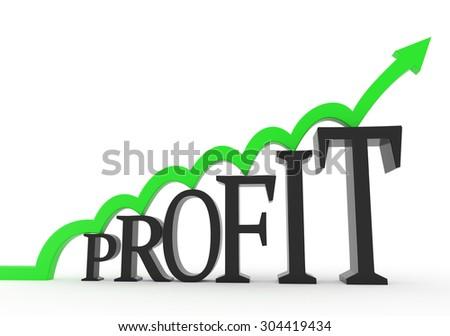 3D render illustration - Green arrow jumps on a profit text object - stock photo