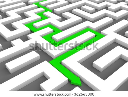 3D render illustration - Green arrow leads through a maze - stock photo
