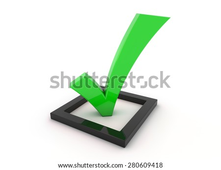 3D render illustration, green tick symbol in a black checkbox - stock photo