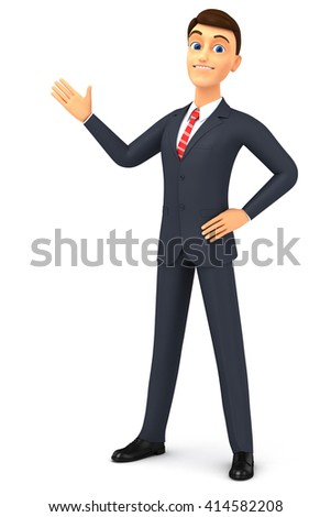 3d render illustration. Happy  cartoon man in a tie isolated on white background. Hand pointing at empty space for advertising. - stock photo