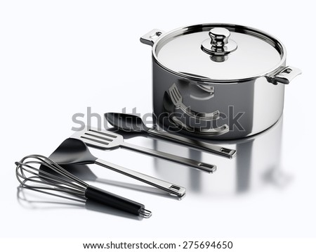 3d render illustration. Kitchen utensils and metallic pan. Kitchen concept. Isolated white background - stock photo