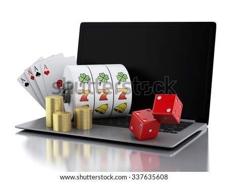 3d render illustration. Laptop with slot machine, dice, cards and gold coins. Casino online games concept. Isolated white background - stock photo