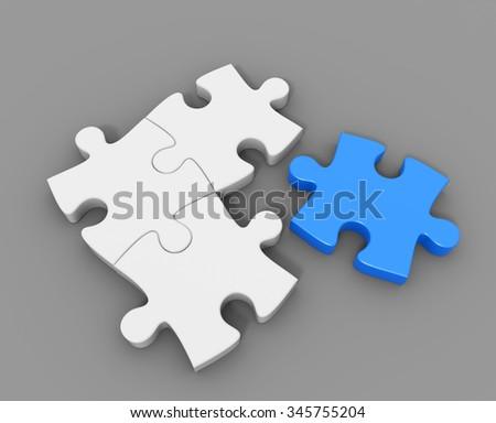 3D render illustration -  loose blue puzzle piece - stock photo