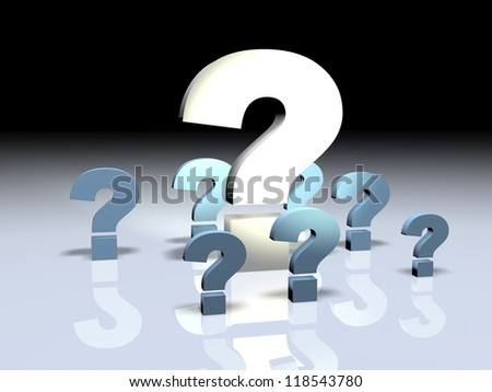 3d render illustration of a big question mark surrounded by smaller ones.