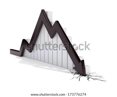 3d render illustration of a black arrow collapsing and breaking through the ground - stock photo