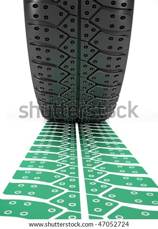 3d render illustration of a car wheel making a green track over white - stock photo
