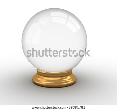 3d render illustration of a crystal ball over white - stock photo