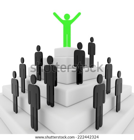 3d render illustration of a green stickman on top of a pyramid - stock photo