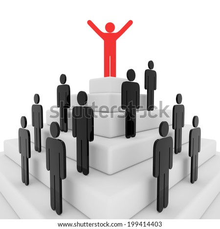 3d render illustration of a red stickman on top of a pyramid