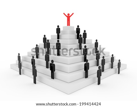 3d render illustration of a red stickman on top of a pyramid - stock photo