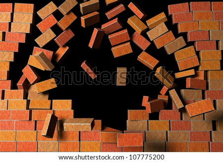 "3d Render Illustration of ""Brick Wall""  Explodes on Black Background - stock photo"