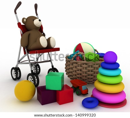 3d render illustration of child's toys in a small basket and pram - stock photo