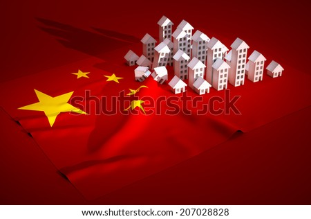 3d render illustration of china real-estate development  - stock photo