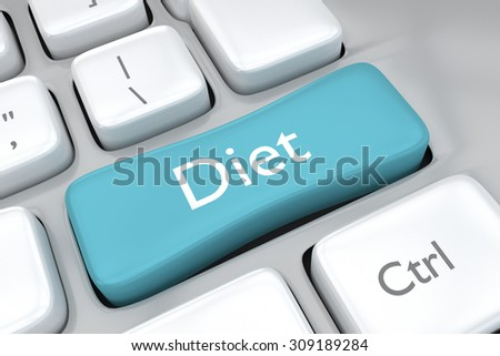 3D render illustration of diet key on a computer keyboard