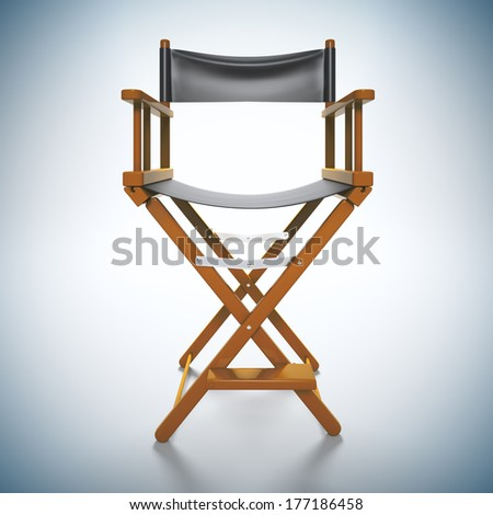 3d render illustration of director's chair at white background. - stock photo