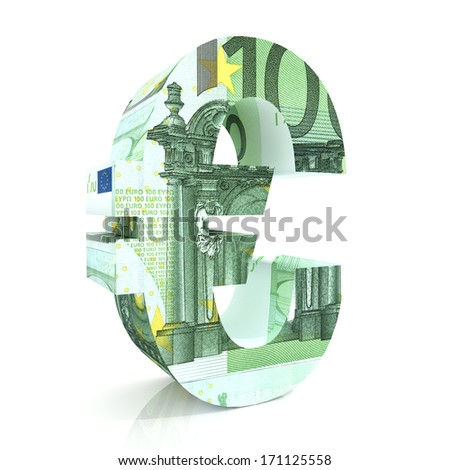 3d render illustration of Euro Sign with euro Bills - stock photo