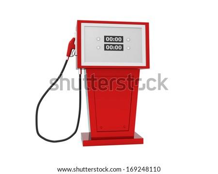 3d render illustration of gas pump over white background. 3d render - stock photo
