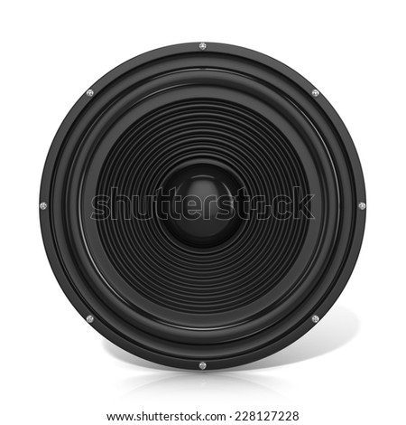 3D render illustration of loudspeaker. Isolated on white background. Front view. - stock photo