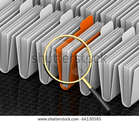 3D render illustration of magnifying glass focusing on archive folders - stock photo