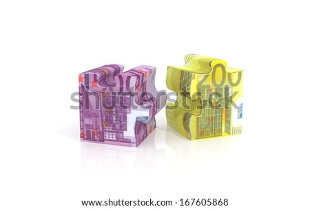 3d render illustration of puzzle piece with euro currency  - stock photo